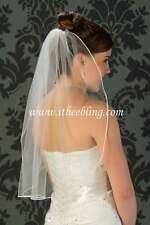 "Elbow Length Bridal Veil 1 Layer 25"" Long Illusions Bridal Veils  Soutache Edge"