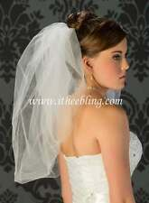 "Elbow Length Bridal Veil 1 Layer 25"" Long Illusions Bridal Veils Bubble Cut"