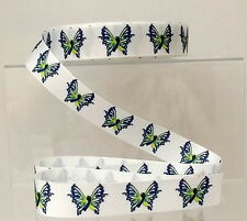 Butterfly Grosgrain Ribbon 25mm White and Blue  1, 2 or 5 metres