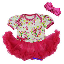 Baby White Hot Pink Rose Flower Bodysuit Pettiskirt Tutu Romper Party Dress 0-18