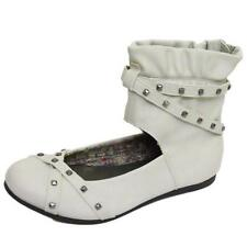 GIRLS KIDS OFF WHITE FLAT ZIP PUMP DOLLY BALLERINA SCHOOL ANKLE SHOES SIZES 11-5
