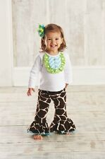 New Mud Pie Wild Child Giraffe Disco Pant Set M2M Hair Bow Outfit Set 0-12 Month