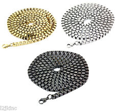 "Mens 36"" Inch Stainless Steel 3mm Hip-Hop Box Chain Necklace Gold,Rhodium,Gun"