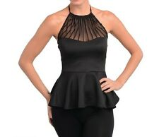 Sexy New Black Sleeveless Peplum Halter Top Night Party Blouse Boutique Clothing