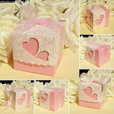 50× Pink Hollow Heart Candy Boxes With Ribbon Wedding Party Baby Shower Favors