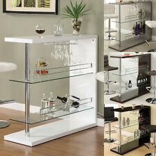 MODERN Rectangular Wine Rack White Black Cappuccino Reclaimed Bar Pub Table Unit