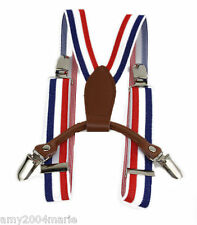 """Toddler Red / White / Blue Stripe 1"""" Wide Suspenders Fits Ages 2 - 5 Years"""