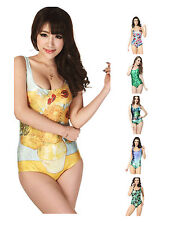 Sexy One-Piece Swimsuit Backless Vest Slim Bikini Nature Print Bathing Dress S-M