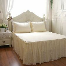 Shabby and Vintage Style Exquisite Hand Crochet Creamy Bed Skirt 1123