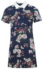Glamorous Daisy Print Pointed Collar Shift Dress Navy - 8, 10, 12, 14