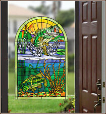 Fish Lake Bass Centerpiece Stained Glass Window Film Adhesive-Free Cling