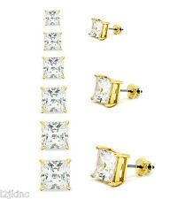 Mens & Ladies Gold Plated Square Lab Diamond Studs Screw Back Earrings 3 to 8mm