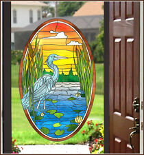 New Oval Stained Glass LOST LAKE WINDOW FILM DECAL Vinyl Static Cling Door Decor