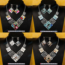 4-Colors 18K Gold Plated Chain Bib Statement Collar Necklace Earrings Set XL193