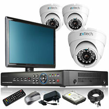 3 x Outdoor Colour Camera Full D1 4 CH DVR CCTV System Home & Business Monitor i