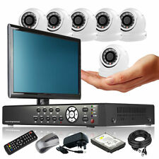 6 x Super Compacted Camera Full D1 8 Channel DVR CCTV Kit Plug Play with Monitor