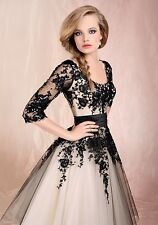 2014 Black/Ivory Lace Sleeves A-line Wedding Dress Bridal Gown Stock Size 6-16