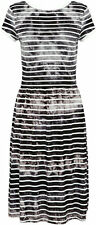 French Connection Amelia Striped Tiedye Jersey Dress Black/White - 8, 10, 12, 14