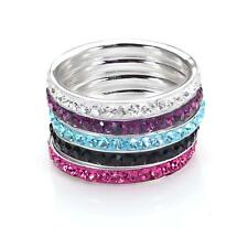 Sterling Silver Pave Crystal 3mm Stacking Rings in Various Sizes & Colours