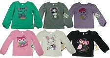 New Garanimals Girls long sleeve T-shirt tee cute graphic cat dog bear butterfly