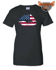 JUNIORS T-SHIRT PRIDE AMERICAN LIPS USA FLAG WHITE RED BLUE PATRIOTIC TEE KISS