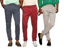 New MEN'S SKINNY SLIM FIT CHINOS WASHED COTTON TWILL TROUSERS  SIZE 28-40