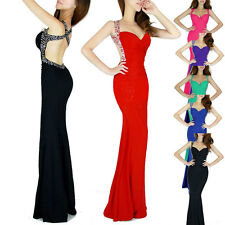 Long Strap Evening Formal Party Ball Gown Prom Bridesmaid Dress Slim Fitted Gown