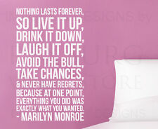 Nothing Lasts Forever Marilyn Monroe Wall Decal Vinyl Sticker Art Quote A46
