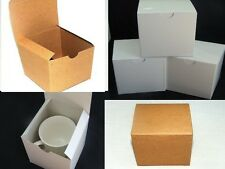 20 4x4x4 Kraft and White gloss Fold and Tuck Gift Boxes, Cute Party Favor Boxes