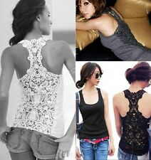 Women Ladies Sexy Lace Flower Tank Top Cami Sleeveless Casual Cotton T-Shirt