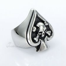 27mm Mens Boys Punk Spade Skull Cross Silver Tone 316L Stainless Steel Ring