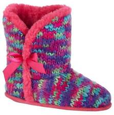Girls BONGO Knit Booties Slippers SIZE 11/12 2/3 4/5 boot-style fur mult Pink