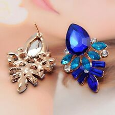 Fashion New Women Rhinestone Crystal Drop Gold Plated Ear Studs Earrings color