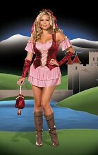 Ladies Pink Maid Wench Fancy Dress Outfit Costume 14 16 18 20.