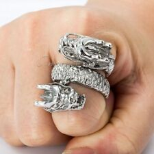 Double Dragon Design Silver Tone 316L Stainless Steel Ring Mens Boys Wrap Ring