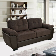 NEWPORT Brown Chenille Fabric & Leather Match Sofas 3 Seaters & 2 Seaters