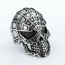 Gothic Silver Evil Spider Man Skull 316L Stainless Steel Men Boy Ring X'mas GIFT