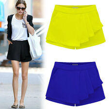 New Tiered Casual Irregular Asymmetric Wrap Shorts Skorts Skirts Mini Hot Pants