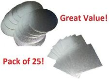 """Pack of 25 Professional Quality Silver Cake Boards 1.8mm Wedding Card 5"""" - 12"""""""