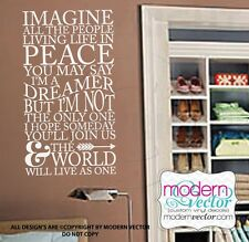 IMAGINE John Lennon Beatles Quote Vinyl Wall Decal Lettering Family Music