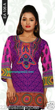 PRINTED  CREPE KURTI/TUNIC INDIA BLOUSE ETHNIC TOP WITH SLEEVES AS SHOWN