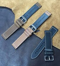 Size 18/20/22/24mm Cow Leather Watch Strap/Band fit Army Military Pilot Watch H6