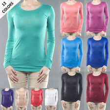 Women Basic Crew Round Neck Long Sleeve Top Cotton T Shirt  S M L