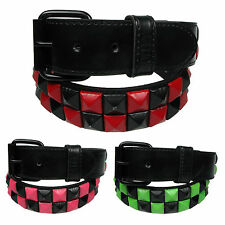 Two Row Pyramid Checkered Belt Mens Womens Studded Belts with Removable Buckle