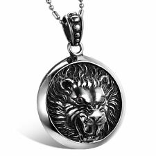 Men's Women's Stainless Steel Black Silver Lion King Head Round Pendant Necklace