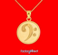 Solid Gold Textured Bass F-Clef Charm Pendant Necklace