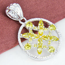 Free Shipping ! Dazzling Yellow Citrine Amethyst Gems Silver Necklace Pendant