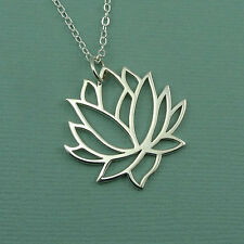 Large Lotus Flower Necklace :  925 sterling silver yoga necklace pendant jewlery