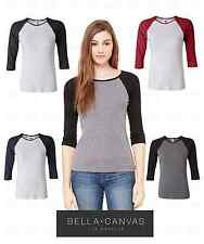 Bella Ladies Size S-2XL Baseball Raglan 3/4 Sleeve T-Shirt TEE Women's 2000