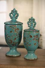 Ceramic 'Fleur de Lis' Straight Top Canisters Provincial NEW Two Sizes Available